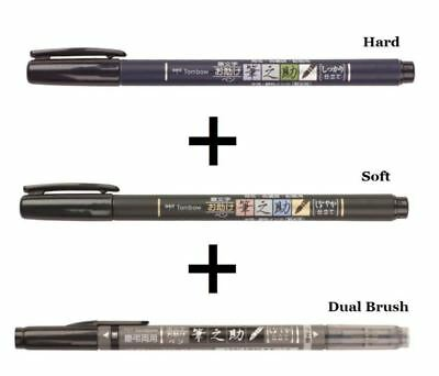Tombow Fudenosuke Fude Brush Pen 3 Type Set GCD-111,112,121 Soft Hard Dual Brush