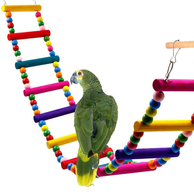 Colorful Ladder Bird Toy, Rusee 12-Step Flexible Ladders Wooden Rainbow Bridge S