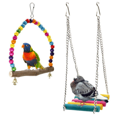 Bird Swings, Rusee Wooden Budgie Toys Pet Bird Cage Hammock Swing Hanging Toy fo