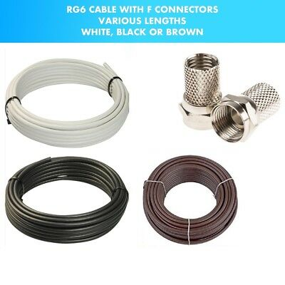 RG6 Coaxial Cable TV Sky BT Polsat Freeview Satellite Aerial FREE F Connectors