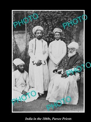 OLD LARGE HISTORIC PHOTO OF INDIA IN THE 1860s, A GROUP OF PARSEE PRIESTS