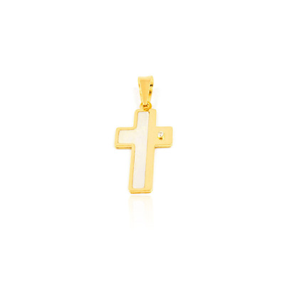 18ct Yellow gold cross in mother-of-pearl