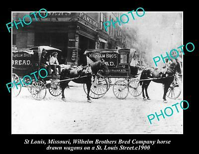 OLD LARGE HISTORIC PHOTO OF ST LOUIS MISSOURI, WILHELM BAKERY WAGONS c1900