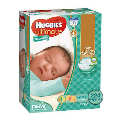Huggies   Newborn Nappies 224 Ultimate Ultra Dry Nappies