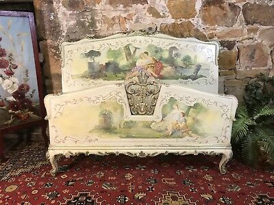 Fabulous Antique French Chic Double Size Bed~Beautiful Handpainted Shabby Timber
