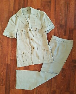 Vintage 70s PALM COURT Safari Suit sz Medium