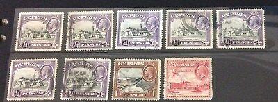 Cyprus  Stamps used  x9  KGV    1934 issues