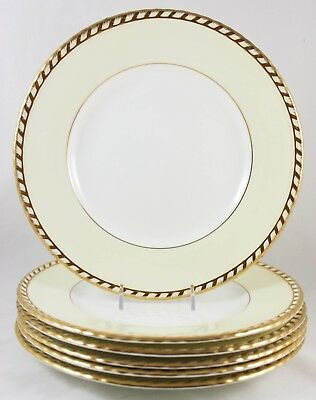 Set 6 Dinner Plates Vintage Minton China Commodore S112 Embossed Gold Rope Cream