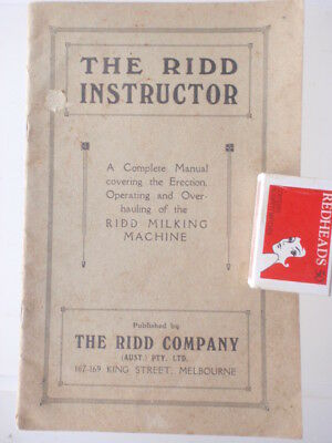 1930's Ridd  Milking Machines manual  31 pages