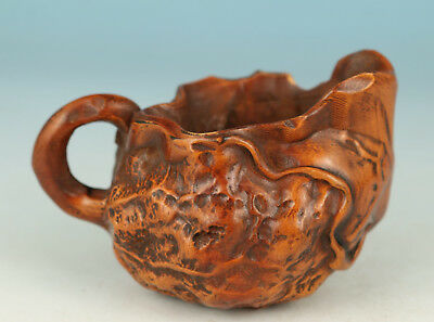 Chinese Old Wood Collection Handmade Carved Cup Statue