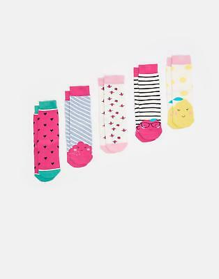 Joules Girls Soxbox Five Pack Breathable Socks in Bamboo Mix in Fruit Design