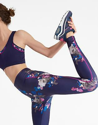 Joules Womens Swift Print Active Print Leggings with Zip Pocket in Navy Floral