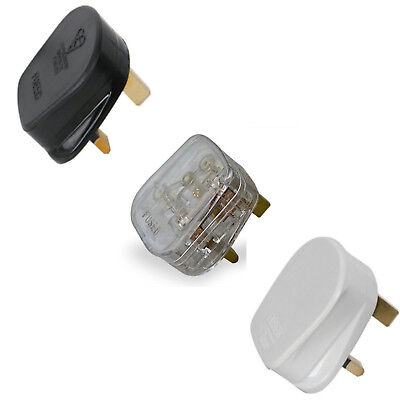 Mains Power Uk 3 Pin Fused Plug,3A 5A 10A 13A Black White Transparent,Rewireable