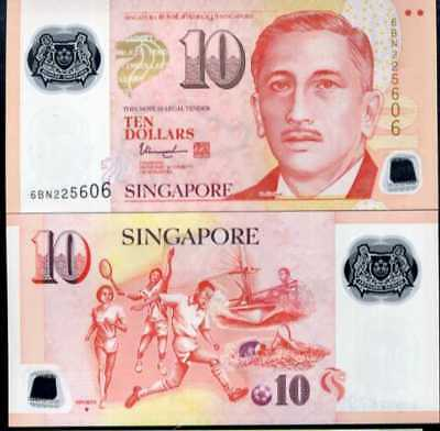 Singapore 10 Dollars 2017 / 2018 P 48 Polymer With 1 Triangle Unc