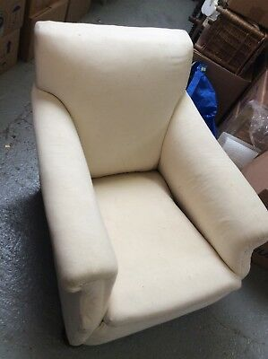 Antique victorian armchair, white, uncovered.