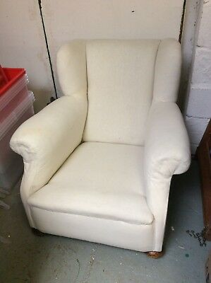 Sturdy Victorian Armchair, uncovered, good condition.
