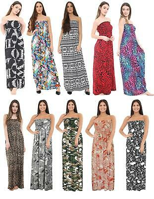 Womens Strapless Ladies Elasticated Boobtube Bandeau Printed Sheering Maxi Dress