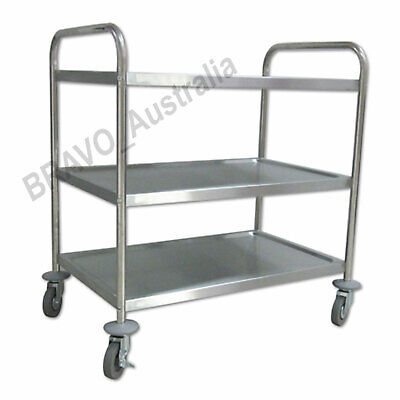 3 Tier Stainless Steel Trolley Service Utility Kitchen Food Caterer Serving Cart