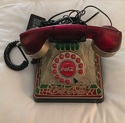 COCA COLA STAINED GLASS LOOKING TIFFANY STYLE PUSH BUTTON telephone