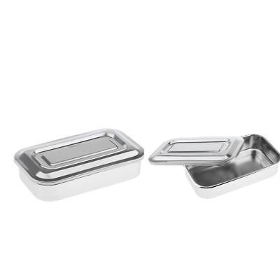 2x Stainless Dental Instrument Surgical Medical Tools Box Sterilization Tray
