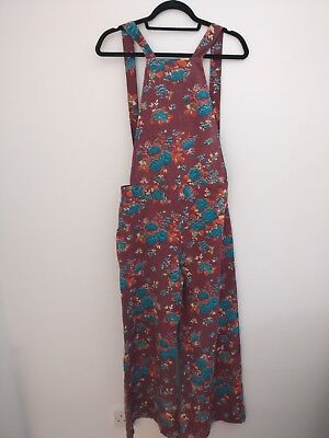 Vintage Wine Coloured Jumpsuit with Red and Green Flower Pattern Size 12-14