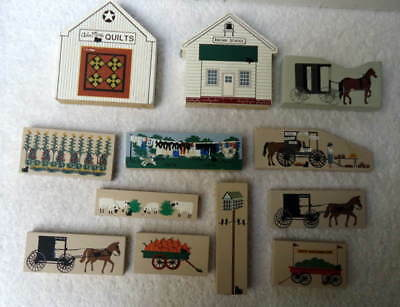 12 Cat's Cats Meow Amish Buggy Horse Animal Clothesline Quilts School #u78