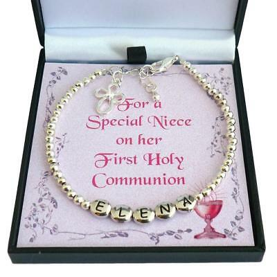 Personalised First Communion Bracelet with Cross, Any Girl's Name. Gift Boxed