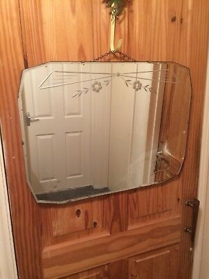 Vintage Retro Wall Mirror 1930 - 40s Bevelled Cut Edge, Shabby chic floral.