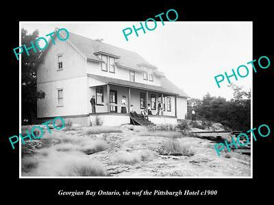 OLD LARGE HISTORIC PHOTO OF GEORGIAN BAY ONTARIO, VIEW OF HOTEL PITTSBURGH c1900