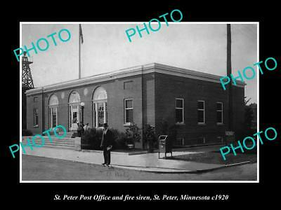 OLD LARGE HISTORIC PHOTO OF St PETER MINNESOTA, VIEW OF THE POST OFFICE c1920