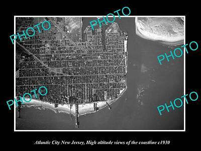 Old Large Historic Photo Of Atlantic City New Jersey, Aerial Of Coastline 1930