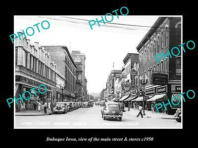 OLD LARGE HISTORIC PHOTO OF DUBUQUE IOWA, THE MAIN STREET & STORES c1950