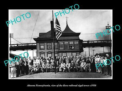 OLD LARGE HISTORIC PHOTO OF ALTOONA PENNSYLVANIA, THE ROSE RAILROAD TOWER c1950
