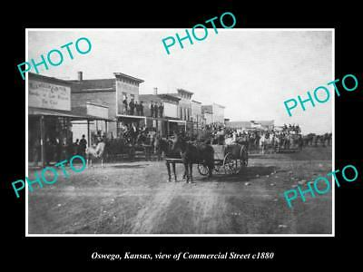OLD LARGE HISTORIC PHOTO OF OSWEGO KANSAS,  VIEW OF COMMERCIAL STREET c1880