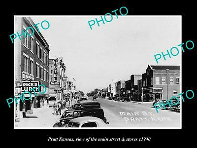 OLD LARGE HISTORIC PHOTO OF PRATT KANSAS, VIEW OF THE MAIN St & STORES 1940