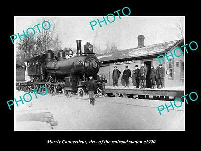 OLD LARGE HISTORIC PHOTO OF MORRIS CONNECTICUT, THE RAILROAD DEPOT c1920