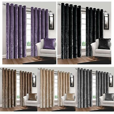 Luxury Crushed Velvet Curtains Pair Lined Ring Top Eyelet Ready Made Super Soft
