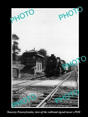Old Large Historic Photo Of Tannery Pennsylvania, The Railroad Signal Tower 1930