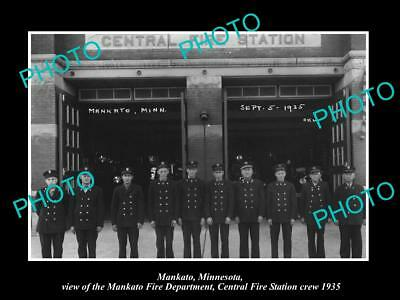 OLD LARGE HISTORIC PHOTO OF MANKATO MINNESOTA, CENTRAL FIRE STATION CREW c1935