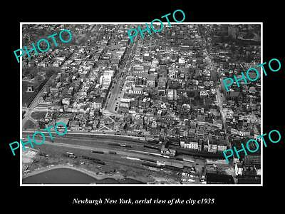 OLD LARGE HISTORIC PHOTO OF NEWBURGH NEW YORK, AERIAL VIEW OF CITY c1935
