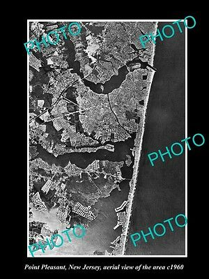 OLD LARGE HISTORIC PHOTO OF POINT PLEASANT NEW JERSEY, AERIAL VIEW OF AREA c1960