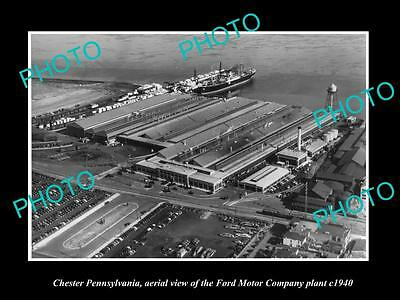 OLD LARGE HISTORIC PHOTO OF CHESTER PENNSYLVANIA, AERIAL VIEW FORD MOTOR Co 1940