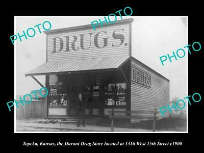 OLD LARGE HISTORIC PHOTO OF TOPEKA KANSAS, VIEW OF THE DURANT DRUG STORE c1900