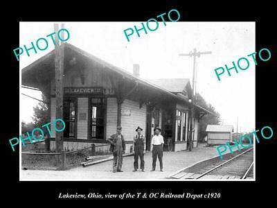 OLD LARGE HISTORIC PHOTO OF LAKEVIEW OHIO, THE T&OC RAILROAD DEPOT c1920