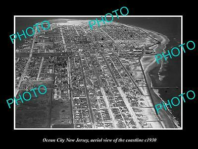 Old Large Historic Photo Of Ocean City New Jersey, Aerial View Of Coastline 1930