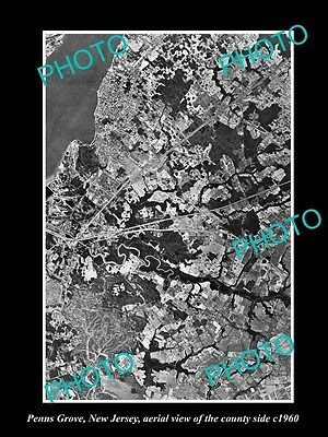Old Large Historic Photo Of Penns Grove New Jersey, Aerial View Of The Area 1960