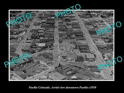 OLD LARGE HISTORIC PHOTO OF PUEBLO COLORADO, AERIAL VIEW OF THE CITY c1950