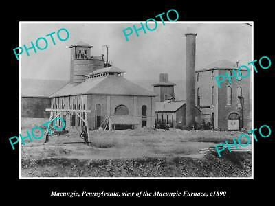 OLD LARGE HISTORIC PHOTO OF MACUNGIE PENNSYLVANIA, THE STEEL BLAST FURNACE c1890