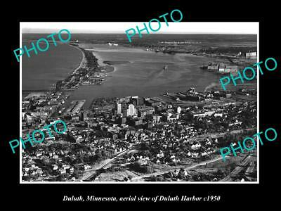 OLD LARGE HISTORIC PHOTO OF DULUTH MINNESOTA, AERIAL VIEW OF THE HARBOR c1950