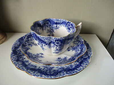 ANTIQUE WILEMAN Violet Shape PRE SHELLEY  Blue White TRIO C1890S Pattern 9122